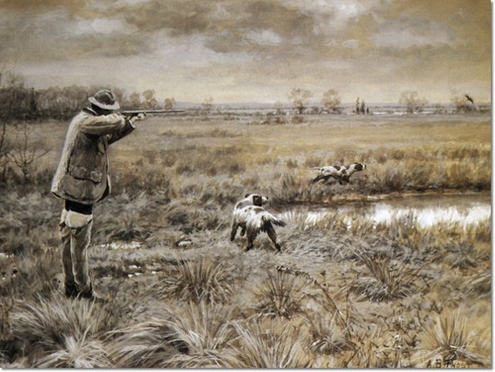 arthur-burdett-frost-the-crucial-instant-with-english-setters-bird-hunting-1933